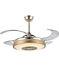 hesapli -QINGMING® Tavan pervanesi Ortam Işığı Eloktrize Kaplama Metal LED, Bluetooth Kontrolü 110-120V / 220-240V Çok Renkli
