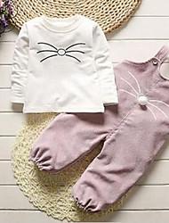 Недорогие -малыш Девочки Классический Повседневные Однотонный Длинный рукав Обычный Набор одежды Белый / Дети (1-4 лет)