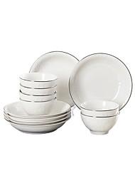 baratos -12 peças Taças Pratos Pratos de Serviço louça Porcelana Cerâmica Novo Design Criativo