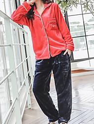 Недорогие -Жен. Квадратный вырез Костюм Пижамы Геометрический принт