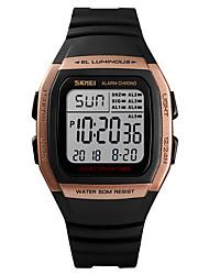 Недорогие -SKMEI Муж. Спортивные часы Армейские часы Цифровой 50 m Будильник Календарь Секундомер PU Группа Цифровой На каждый день Мода Черный - Зеленый Синий Розовое золото Один год Срок службы батареи
