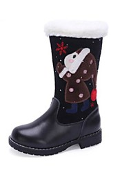 Недорогие -Девочки Обувь Кожа Зима Модная обувь Ботинки Молнии для Дети / Для подростков Черный / Красный / Сапоги до середины икры
