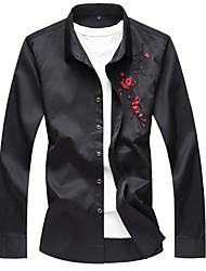 Недорогие -мужская футболка с увеличенным размером - цветочная / сплошная цветная квадратная шея