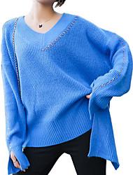 Недорогие -Жен. Повседневные С кисточками Однотонный Длинный рукав Обычный Пуловер, Круглый вырез Белый / Черный / Красный Один размер