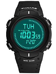 Недорогие -Муж. Спортивные часы электронные часы Японский Цифровой силиконовый Черный / Зеленый 30 m Защита от влаги Календарь Компас Цифровой Мода - Черный Зеленый / Хронометр / Фосфоресцирующий