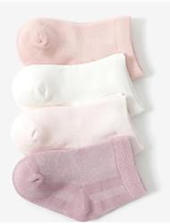 Недорогие -4 пары Мальчики / Девочки Носки Standard Однотонный Calm Простой стиль Хлопок 0-6 месяцев / 7-12 месяцев / 1-3 года