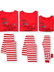 Недорогие -Семейный вид Классический Рождество Повседневные Животное Длинный рукав Обычная Футболка Красный