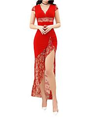 Недорогие -Жен. Уличный стиль Тонкие Оболочка Платье V-образный вырез До колена