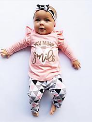 Недорогие -Дети (1-4 лет) Девочки Активный / Классический Повседневные Черное и белое Геометрический принт С принтом Длинный рукав Обычный Обычная Хлопок / Полиэстер Набор одежды Розовый 90