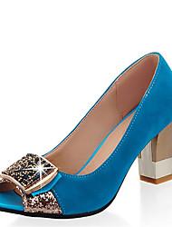 Недорогие -Жен. Синтетика Весна лето Обувь на каблуках На толстом каблуке Открытый мыс Стразы Пурпурный / Зеленый / Синий / Для вечеринки / ужина