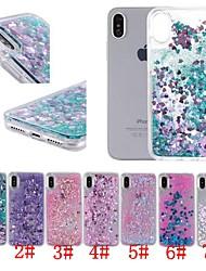 Недорогие -Кейс для Назначение Apple iPhone XR / iPhone XS Max Защита от удара / Движущаяся жидкость / Прозрачный Кейс на заднюю панель С сердцем / Сияние и блеск Твердый ПК для iPhone XS / iPhone XR / iPhone