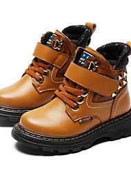 Недорогие -Мальчики Обувь Кожа Зима Армейские ботинки Ботинки Заклепки / На липучках для Дети Черный / Желтый