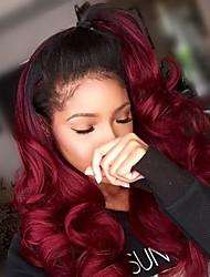 voordelige -Mensen Remy Haar Kanten Voorkant Pruik Asymmetrisch kapsel Rihanna stijl Braziliaans haar Golvend BodyGolf Bordeaux Pruik 130% 150% Haardichtheid met babyhaar Zacht Klassiek Dames Beste kwaliteit