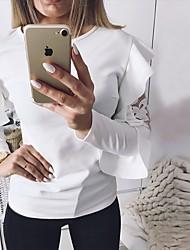 baratos -t-shirt feminina - bloco de cor em volta do pescoço