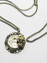 رخيصةأون -نسائي فينتاج قلائد الحلي - جمجمة عتيق, Steampunk البرونز القديم 70 cm قلادة مجوهرات 1PC من أجل هدية, شارع