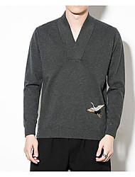 tanie -Męskie Codzienny Frędzel Solidne kolory Długi rękaw Regularny Sweter rozpinany, W serek Czarny / Szary XXXL / XXXXL / XXXXXL