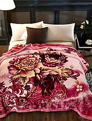 Недорогие -Одеяла, Цветочные / ботанический Плюшевая ткань Сгущать одеяла