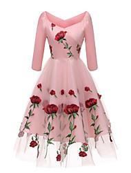 Недорогие -женская партия линия платье высокая талия длиной до колена