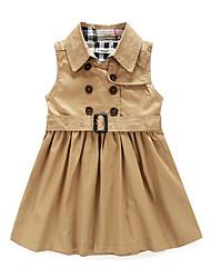 お買い得  -子供 女の子 ストリートファッション 日常 ソリッド ノースリーブ 膝丈 ポリエステル ドレス カーキ色