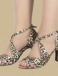 baratos -Mulheres Sapatos de Dança Latina Cetim Salto Estampa Animal Salto Alto Magro Personalizável Sapatos de Dança Leopardo