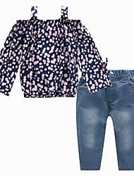 お買い得  -子供 女の子 活発的 / ストリートファッション 日常 / お出かけ フラワー プリント 長袖 レギュラー レーヨン アンサンブル ネイビーブルー