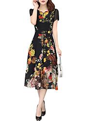 baratos -Mulheres Elegante Tamanhos Grandes Calças - Floral Preto / Sexy
