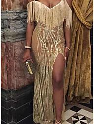 abordables -Femme Soirée Basique Asymétrique Mince Moulante Robe - Paillettes / Glands / Fendu A Bretelles Jaune M L XL Manches Courtes