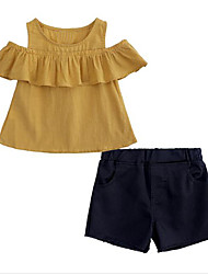 Χαμηλού Κόστους -Παιδιά Κοριτσίστικα Ενεργό / Κομψό στυλ street Καθημερινά / Εξόδου Μονόχρωμο Με Βολάν Κοντομάνικο Κανονικό Ρεϊγιόν Σετ Ρούχων Κίτρινο