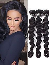 tanie -4 zestawy Włosy peruwiańskie Luźne fale Włosy naturalne Akcesoria do peruk Fale w naturalnym kolorze Pakiet włosów 8-28 in Kolor naturalny Ludzkie włosy wyplata Jedwabisty Gładki Natutalne Ludzkich
