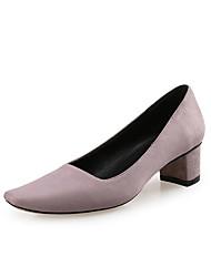Недорогие -Жен. Синтетика Весна лето Обувь на каблуках На толстом каблуке Квадратный носок Серый / Светло-Розовый / Тёмно-синий