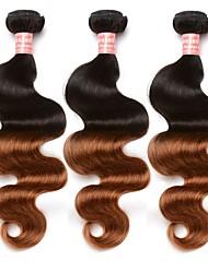 Недорогие -3 Связки Бразильские волосы Естественные кудри Натуральные волосы Омбре Плетение 10inch-24inch Ткет человеческих волос Без запаха Мягкость Горячая распродажа Расширения человеческих волос Жен.