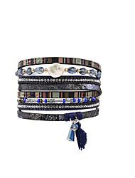 Недорогие -Жен. маскарадный Кожаные браслеты Кожа Мода Английский Браслеты Бижутерия Синий Назначение Подарок Повседневные