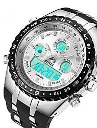Недорогие -Муж. Спортивные часы электронные часы Цифровой силиконовый Черный Защита от влаги С двумя часовыми поясами Фосфоресцирующий Аналоговый Цифровой На каждый день Мода - Белый Черный / Крупный циферблат