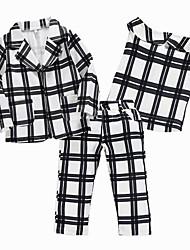 お買い得  -子供 女の子 活発的 / ストリートファッション 日常 / お出かけ チェック 長袖 レギュラー レーヨン アンサンブル ホワイト