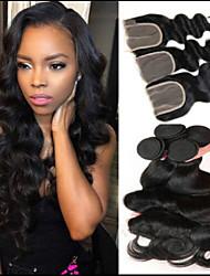 Недорогие -3 комплекта с закрытием Бразильские волосы Индийские волосы Естественные кудри Не подвергавшиеся окрашиванию человеческие волосы Remy Косплей Костюмы Человека ткет Волосы Сувениры для чаепития 8-20