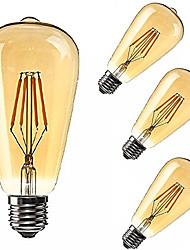 tanie -KWB 4 szt. 2200 lm E26 / E27 Żarówki LED kulki ST64 4 Koraliki LED COB Przygaszanie / Dekoracyjna Ciepła biel 85-265 V / RoHs