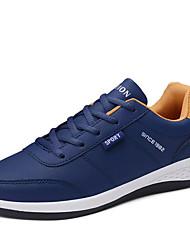 hesapli -Erkek Ayakkabı PU İlkbahar yaz Sportif Atletik Ayakkabılar Koşu Atletik için Beyaz / Siyah / Mavi