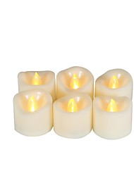 Недорогие -6шт LED Night Light / Свечной свет Теплый Желтый Батарея с батарейкой Простота транспортировки / Безопасность / Атмосферная лампа