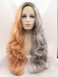 Недорогие -Синтетические кружевные передние парики Жен. Естественные кудри Темно-серый Стрижка каскад 130% Человека Плотность волос Искусственные волосы 24 дюймовый Женский Темно-серый Парик Длинные