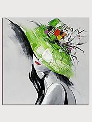Недорогие -Hang-роспись маслом Ручная роспись - Люди Modern Без внутренней части рамки / Рулонный холст