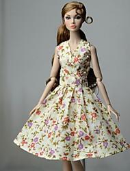 Недорогие -Платье куклы Платья Для Barbie Цветочный принт Цветы Цветочные ботанический Желтовато-коричневый Ткань Хлопковая ткань Нетканый материал Платье Для Девичий игрушки куклы