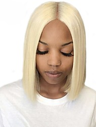 Недорогие -человеческие волосы Remy Натуральные волосы Лента спереди Парик Бразильские волосы Шелковисто-прямые Блондинка Парик Стрижка боб Короткий Боб 130% Плотность волос / Природные волосы