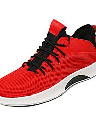 hesapli -Erkek Ayakkabı Elastik Kumaş / Tissage Volant Bahar Günlük Spor Ayakkabısı Günlük için Beyaz / Siyah / Kırmzı