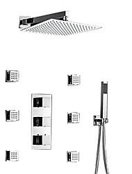 Недорогие -Смеситель для душа - Современный Хром На стену Медный клапан Bath Shower Mixer Taps / Латунь / Три ручки Три отверстия