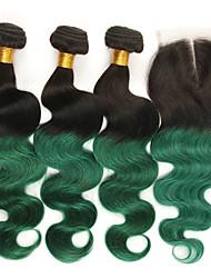 tanie -3 zestawy z zamknięciem Włosy brazylijskie Body wave Włosy naturalne remy Doczepy z naturalnych włosów Taśma włosów z zamknięciem 10-24 in Ludzkie włosy wyplata Miękka Najwyższa jakość Nowości