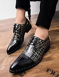 hesapli -Erkek Ayakkabı PU İlkbahar yaz Günlük Oxford Modeli Günlük için Siyah / Siyah ve Altın