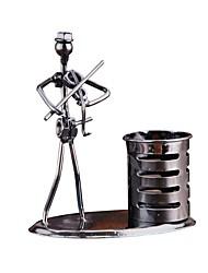 Недорогие -металл музыка группа ретро электрогитара музыкант фигура модель железный человек кисть горшок перо контейнер перо держатель офисный декор