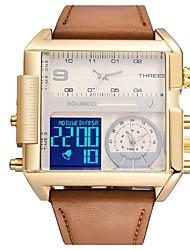 Недорогие -Муж. Спортивные часы электронные часы Цифровой Кожа Черный / Коричневый Защита от влаги Календарь Секундомер Аналоговый Цифровой На каждый день Мода - Серебро / черный Золото / Белый Белый / Бежевый