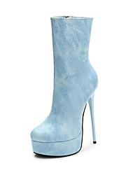 Недорогие -Жен. Полиуретан Наступила зима На каждый день Обувь на каблуках На шпильке Сапоги до середины икры Синий / Розовый / Миндальный