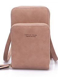 Недорогие -Жен. Молнии PU Мобильный телефон сумка Сплошной цвет Черный / Розовый / Зеленый / Наступила зима